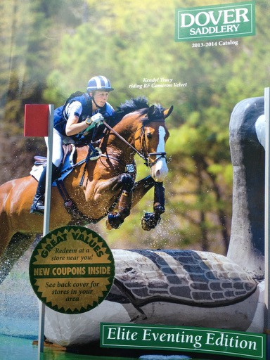 Kendyl and RF Cameron Velvet on the cover of Dover Saddlery catalog