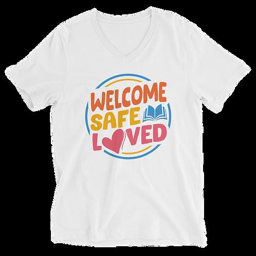 Welcome, Safe, Loved Short Sleeve Unisex V-Neck T-Shirt