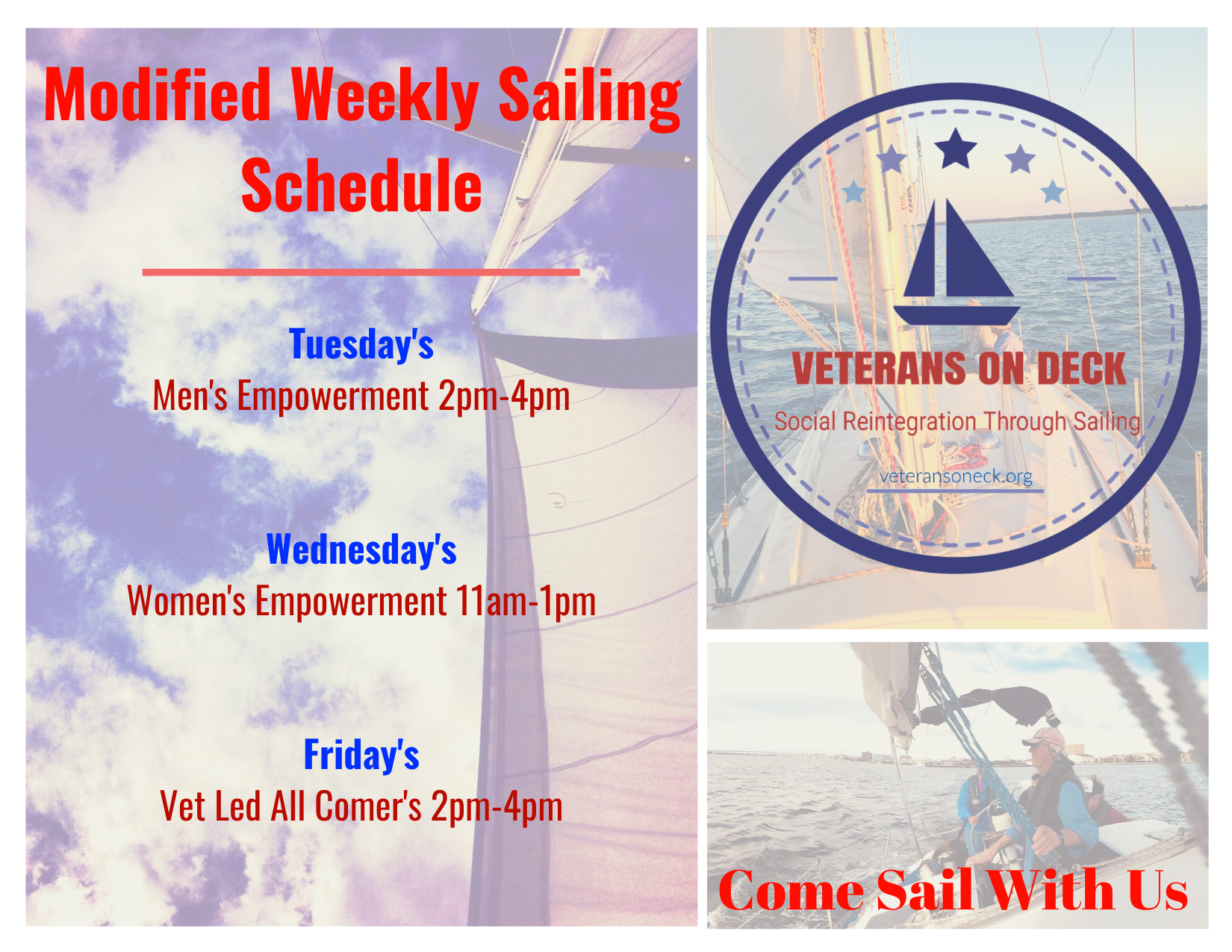 Modified All Sail Schedule Postcard