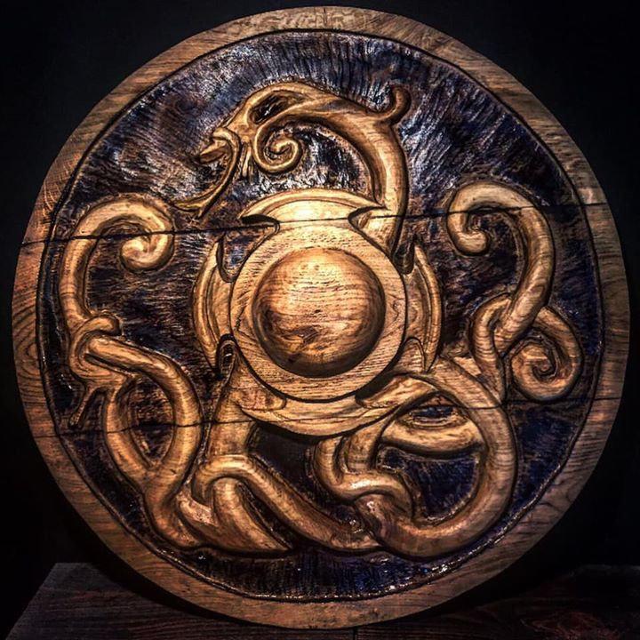 Viking shield by UK Sculptor Arran Scott