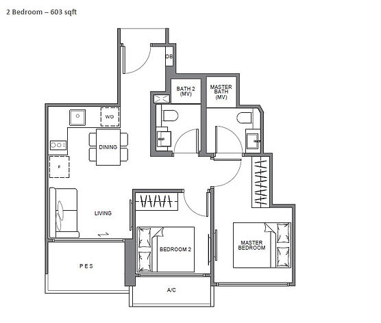 The Navian 2 Bedroom Floor Plan
