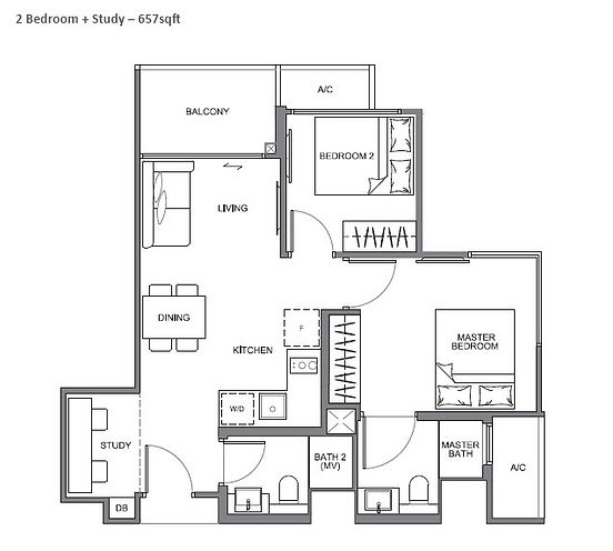 The Navia 2 bedroom + Study Floor Plan