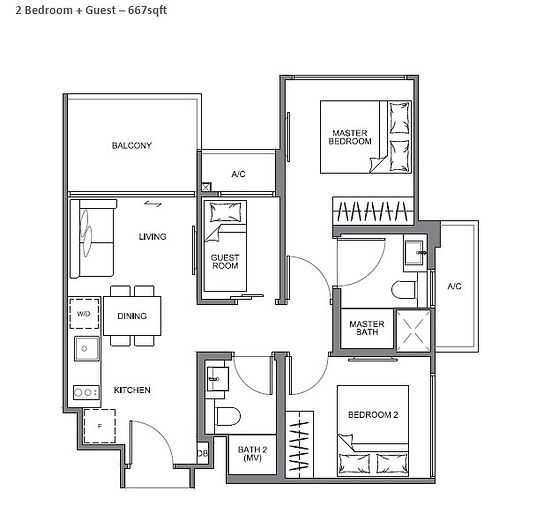 The Navian 2 Bedroom + Guest Floor Plan