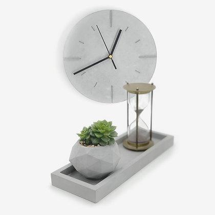 סט עיצובי שעון בטון מגש מלבני מבטון עם עציץ גיאומטרי מבטון