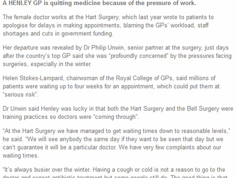 GP Quits Due To Work Pressure