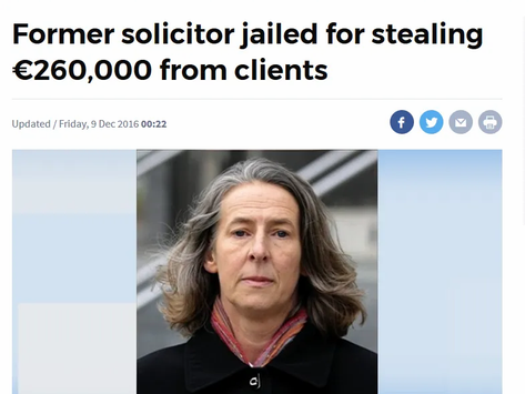 Former Solicitor Jailed For Stealing €260,000 From Clients