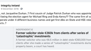 Integrity Ireland Find Connection Between Kenny Durcan and Jaqueline Durcan...
