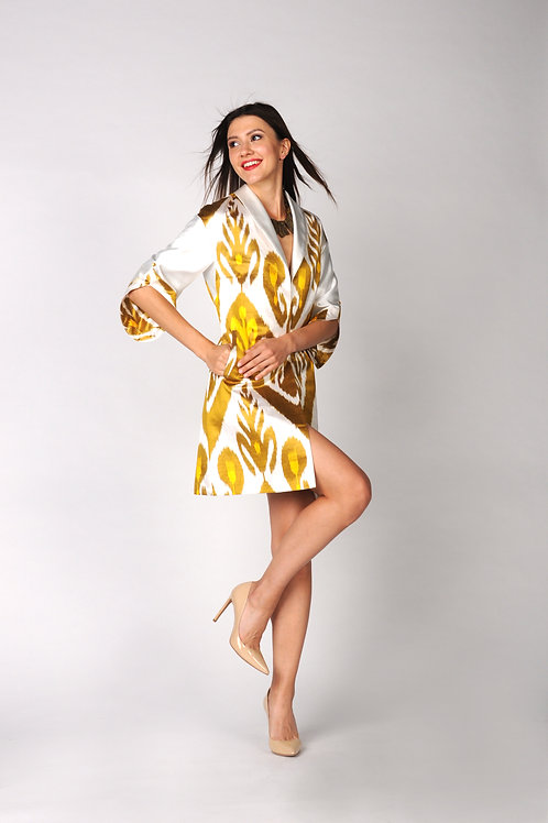 Yellow Coat with White Satin Sleeves