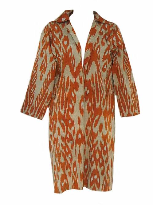 Neck Coat - Orange and Beige