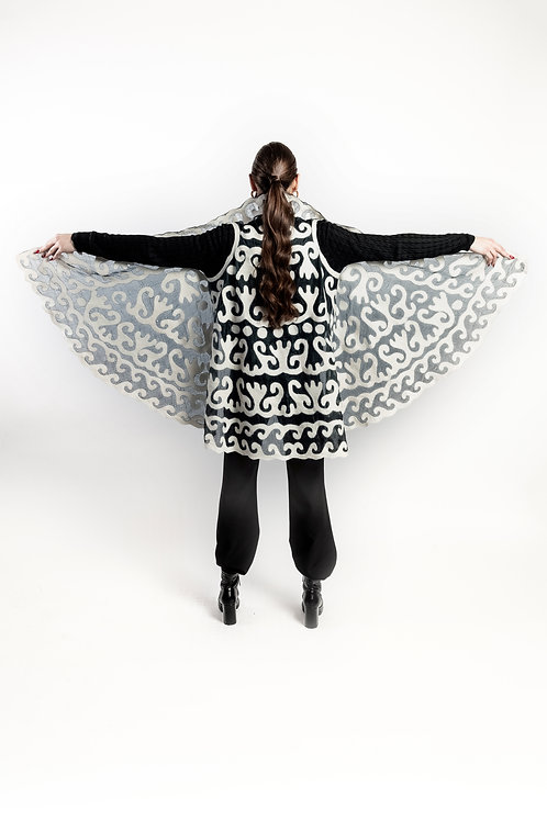 Wool Silk Gilet and Scarf - Black and White