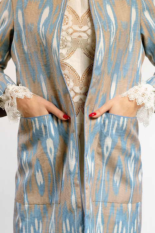 Straight Coat Turquoise & White