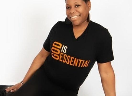 """""""God Is Essential"""" Black/Orange Short Sleeve, (V-neck)Tee"""
