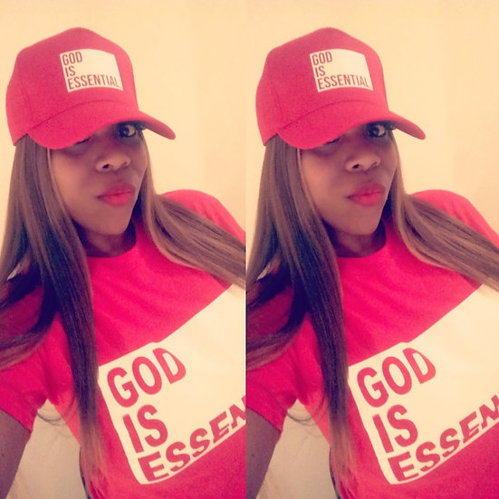 """""""GOD IS ESSENTIAL"""" Snapback Cap, Red"""