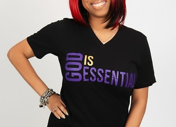 """God Is Essential"" black/purple short sleeve, (V-neck) tee"