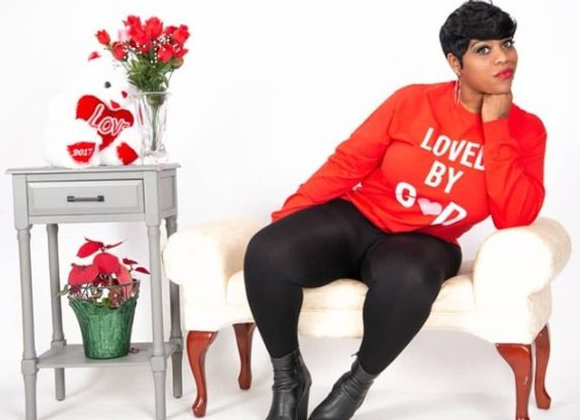 """""""Loved By God"""" Tee, Red/White"""