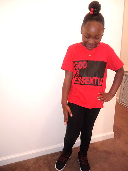 """YOUTH """"God Is Essential"""" Basic Tee, Red/Black"""