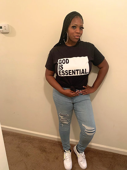 """GOD IS ESSENTIAL"" Tee, Black Or Red"