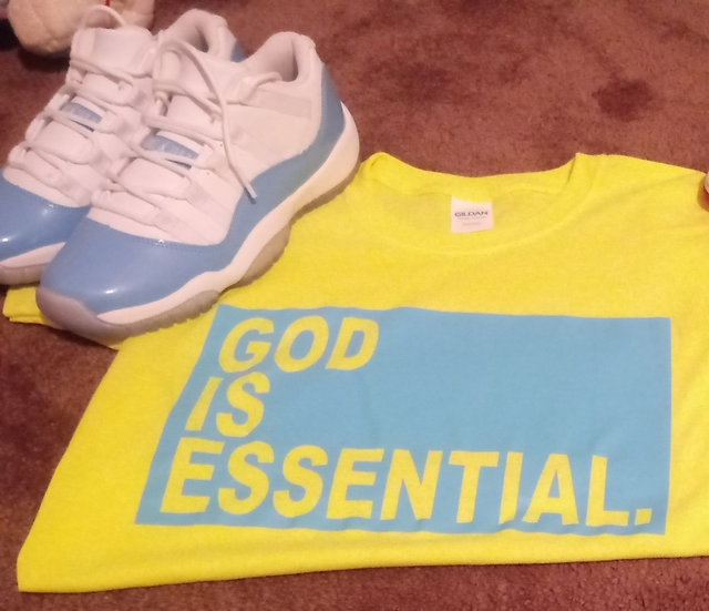"""GOD IS ESSENTIAL"" Basic Unisex Tee, SAFETY GREEN"