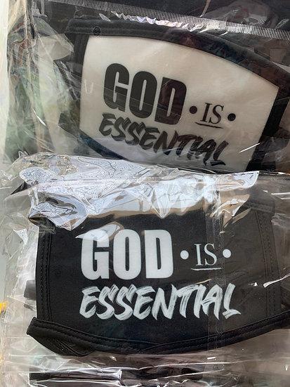 """""""GOD IS ESSENTIAL"""" FACE MASKS, BLACK, BLACK/WHITE"""