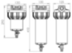 Dimenzije samočistilnega filtra za vodo