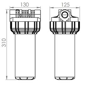 Dimenzije enojnega filtraza vodo MAGO EKO FOS