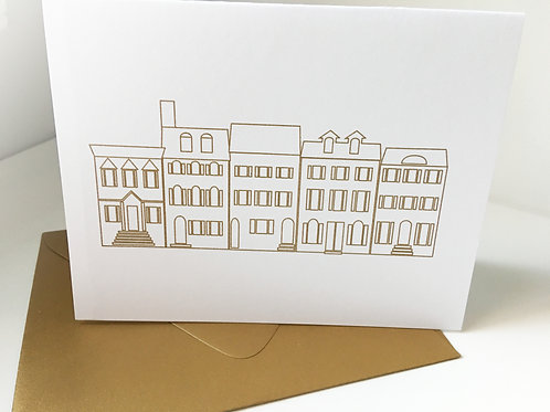 Rowhomes Folded Card Gold Embossed Card