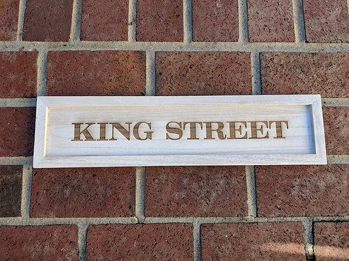 King Street White Washed Wood Tray Sign