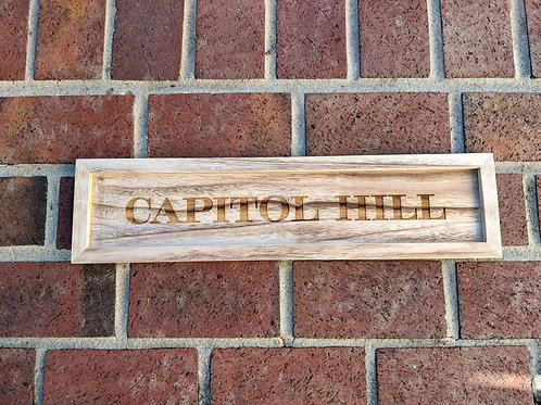 Capitol Hill Wood Tray Sign