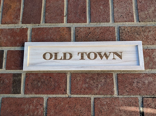 Old Town White Washed Wood Tray Sign
