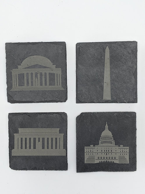 Washington DC Slate Coasters S/4