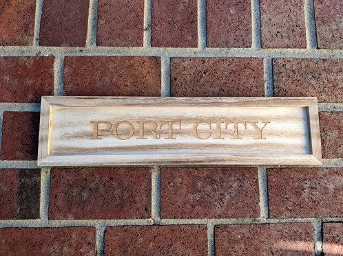 Port City Wood Tray Sign