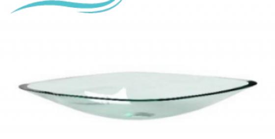Lavamanos en cristal transparente cuadrado 35cm