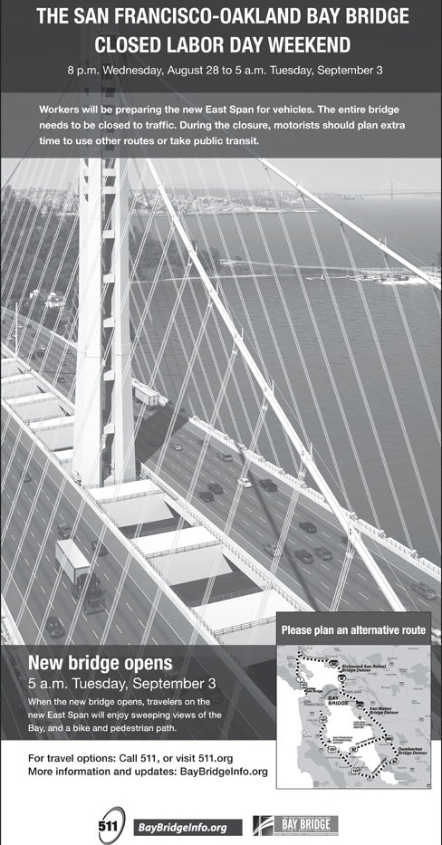 Print ad for bridge closure