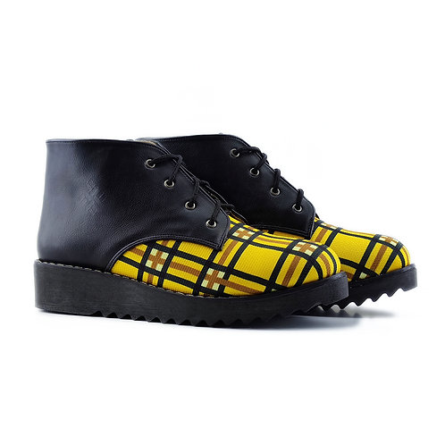 Black Yellow Printed Petty Bootie