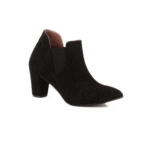 Black Heeled Slit Half Boot