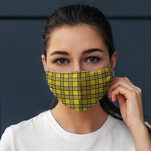 Face Mask Yellow Tartan