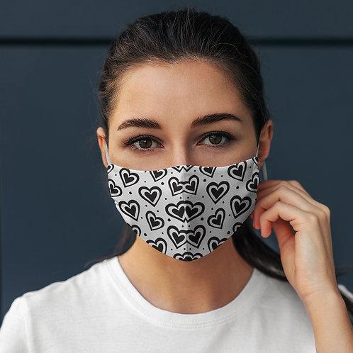 Face Mask B&W Hearts