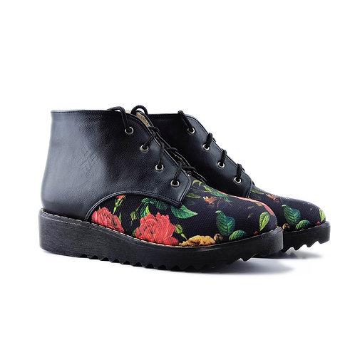 Black Printed Flowers Petty Bootie