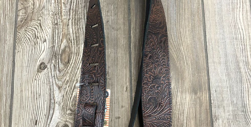 Tooled Leather Strap, Brown
