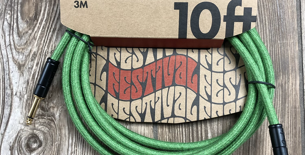 Fender Hemp 10' Instrument Cable, Green