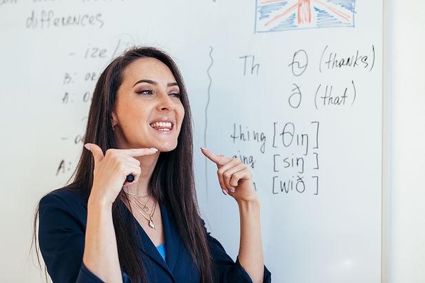 English lesson Teacher shows how to pron