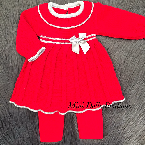 Red & Silver Knitted Dress Set
