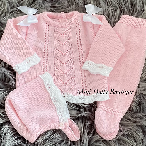Pink Knitted 3 Piece 0-3 Months