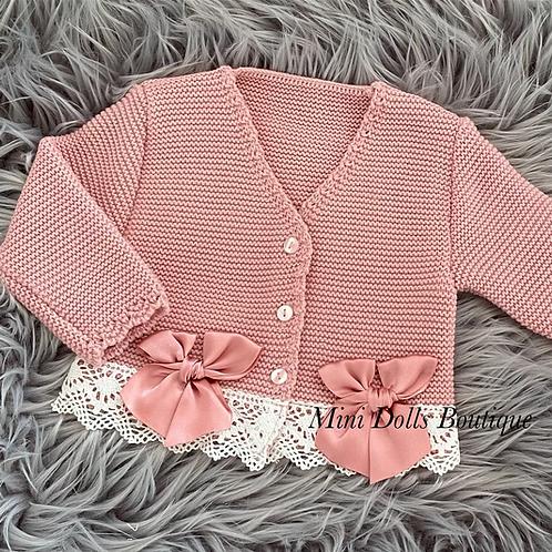 Dusky Pink Double Bow Cardigan