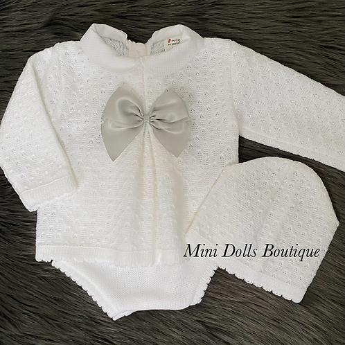 White Knitted Jam Pants Set