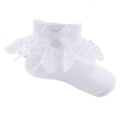 White Lace Flower Socks
