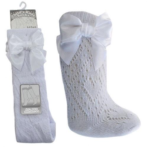White Pelerine Bow Socks
