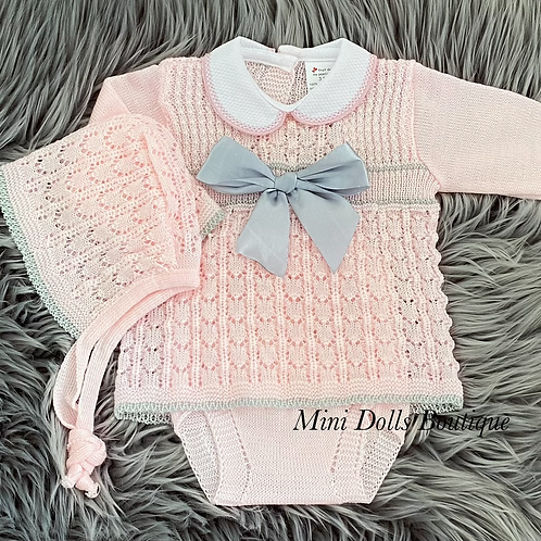 Pink & Silver Bow Knitted Set