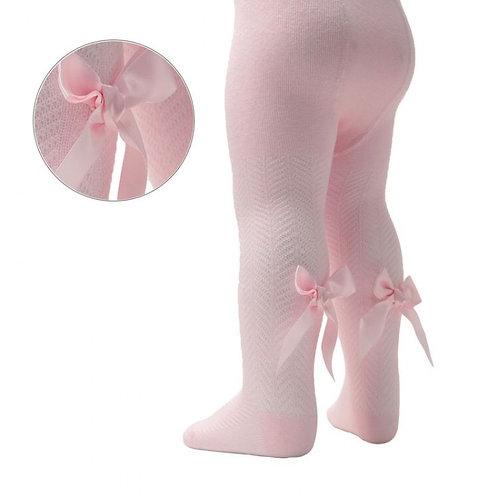 Pink Chevron Bow Tights