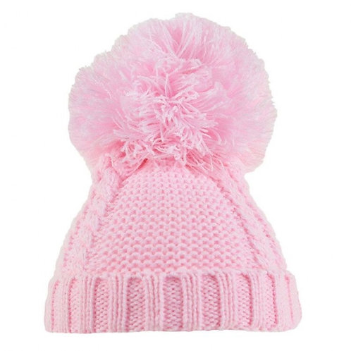 Pink Cable Pom Pom Hat 6-18m